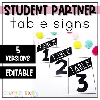 Table Signs - Editable