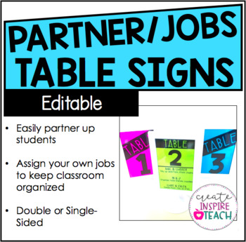 Editable Table Signs - Student Partners and Class Jobs
