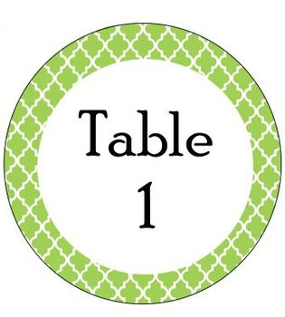 Table Signs Green Moroccan (Middle School Minions)