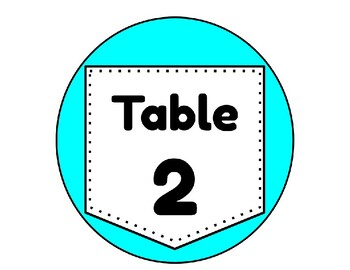 Table Signs - Green and Blue