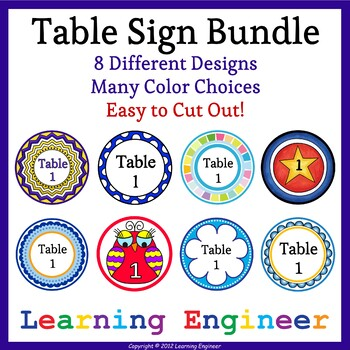 Table Signs: Group Signs Bundle