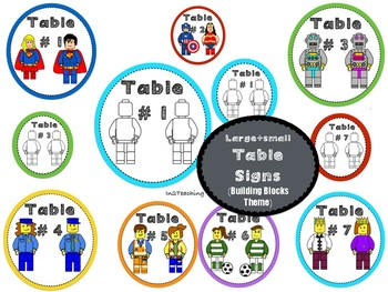 Table Signs: (Lego like) Building block theme