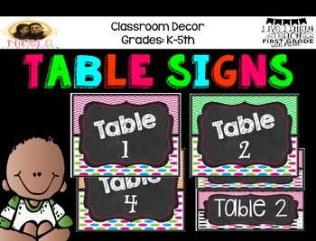 Table Signs- Neon&Chalk