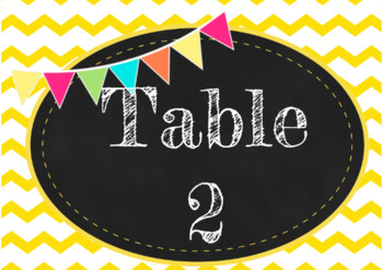 Table Signs Numbers 1-6
