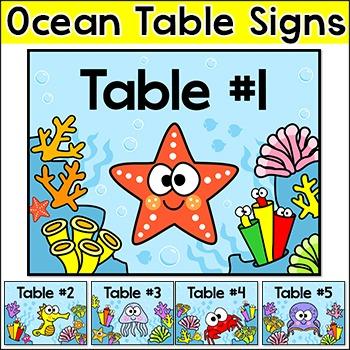 Ocean Theme Table Signs