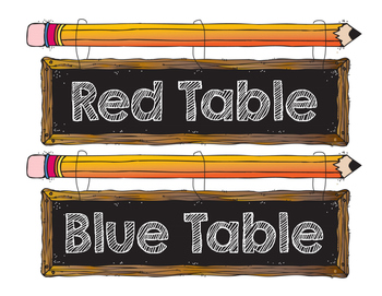 Table Signs Pencil Chalkboard