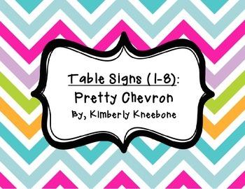 Table - Groups Desks Signs (1-8): Pretty Chevron