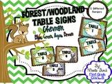 Table Signs Woodland Theme Chevron (Blue, Green, Aqua, Brown)