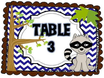 Table Signs Woodland Theme Chevron (Blue, Green, Aqua, Brown)