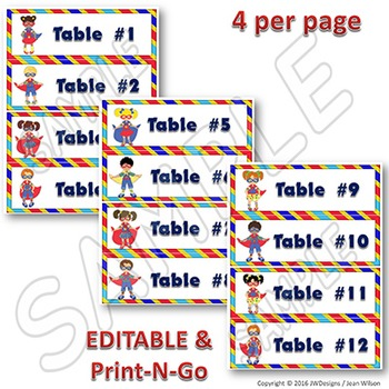 EDITABLE Table Signs and Labels - Superhero Themed