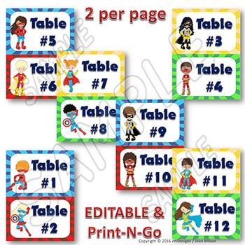 EDITABLE Labels - Table Signs and Labels - Superhero Themed