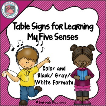 Table Signs for Learning- My Five Senses
