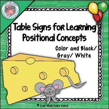 Table Signs for Learning- Positional Concepts