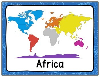 Table Signs for Learning- The Continents