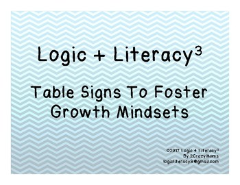 Table Signs to Foster Growth Mindsets