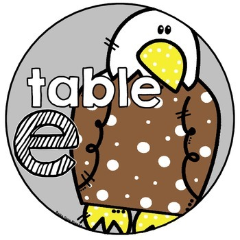 Table Signs with Vowels and Pictures for Short and Long Sounds