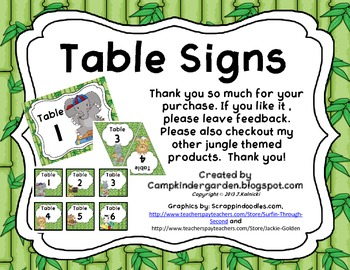 Table Signs with a Jungle Theme