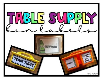 Table Supply Bin Labels