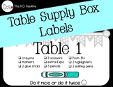 Table Supply Box Labels