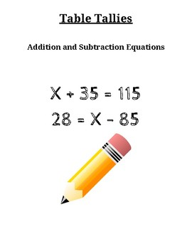 Table Tallies:  Solving Addition and Subtraction Equations