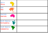 Table Teams: Continents! Labels for Table Supplies and Tab