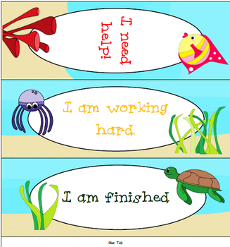 Classroom Management Tool: Table Tent Help Sign - Under the Sea Theme