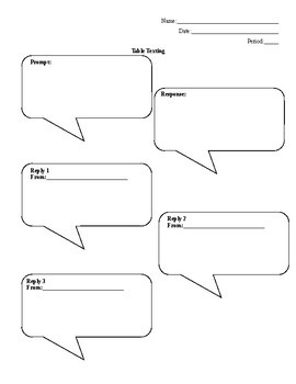 Table Texting Template