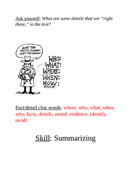 Table-Top Reading Skills and Strategies Reference Sheets