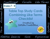 Combining Like Terms Checklist and Worksheets