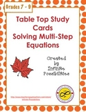 Solving Multi-Step Equations Study Cards