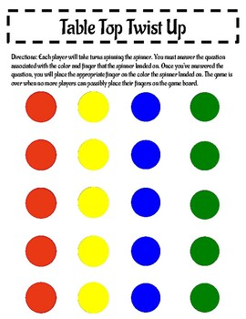 Table Top Twister- Back to School Version