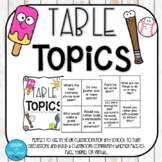 Table Topics Task Cards- GROWING PRODUCT