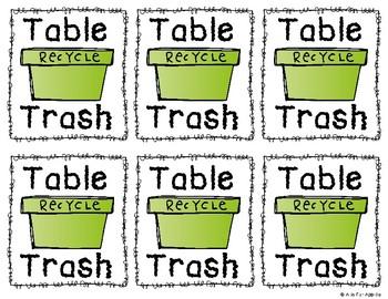 Table Trash Bin Labels