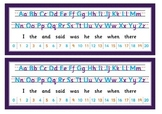 Table aids. Letter formation, High Frequency Words and Num