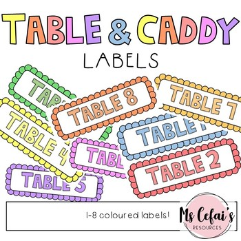 Table and Caddy Labels