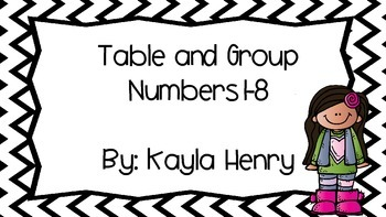 Table and Group Numbers 1-8 (Circle and Chevron Black/White)