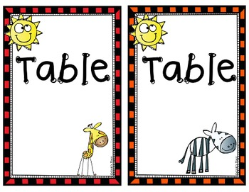 Table and Group Numbers- Jungle Theme