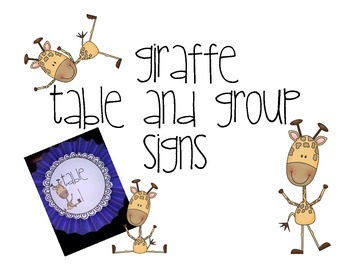 Table and Group Signs with Giraffes