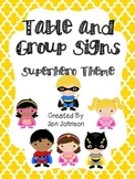 Table and Group Superhero theme posters