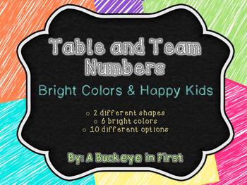 Table and Team Numbers - Bright Colors & Happy Kids