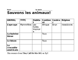 Table d'animaux