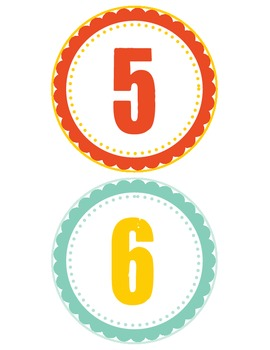 Table group numbers- Teal, yellow, and red