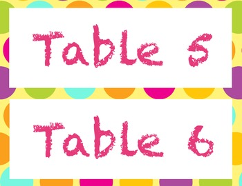 Table labels (Polka Dots) for up to 6 tables