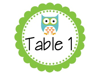 Table number signs {owl theme}