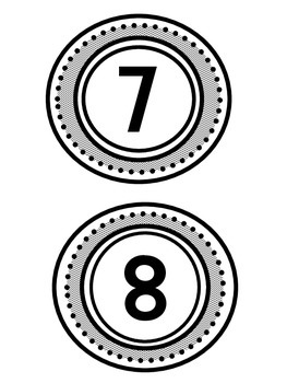 Table numbers 1-10  Group Numbers Black and White Polka Dot