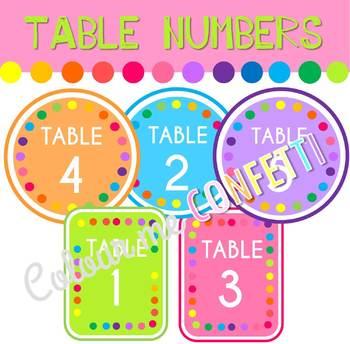 FREEBIE Table numbers - Colour me Confetti