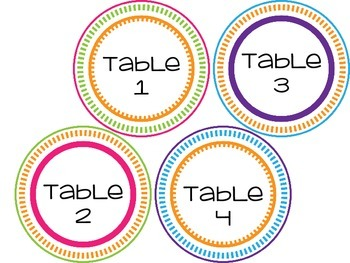Table numbers english/ spanish