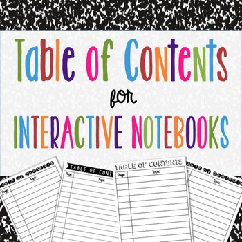 Table of Contents for Interactive Notes