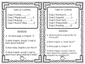 Table of Content Task Cards