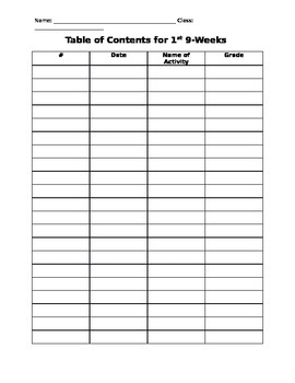 Table of Contents for Notebook or Binder (Editable)